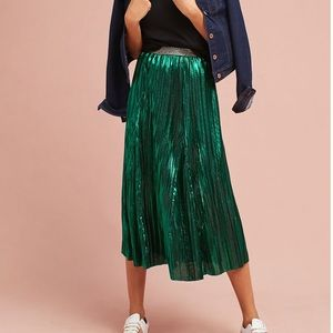 Anthropologie Seen Worn Kept Green Metallic Skirt
